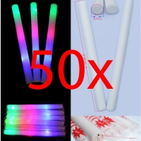 50x Bastone Luminoso Led Spugna RGB Foam Stick Light Pingone