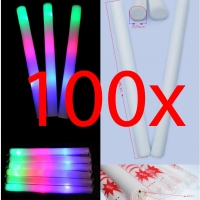 100x Bastone Luminoso Led Spugna RGB Foam Stick Light Pingone